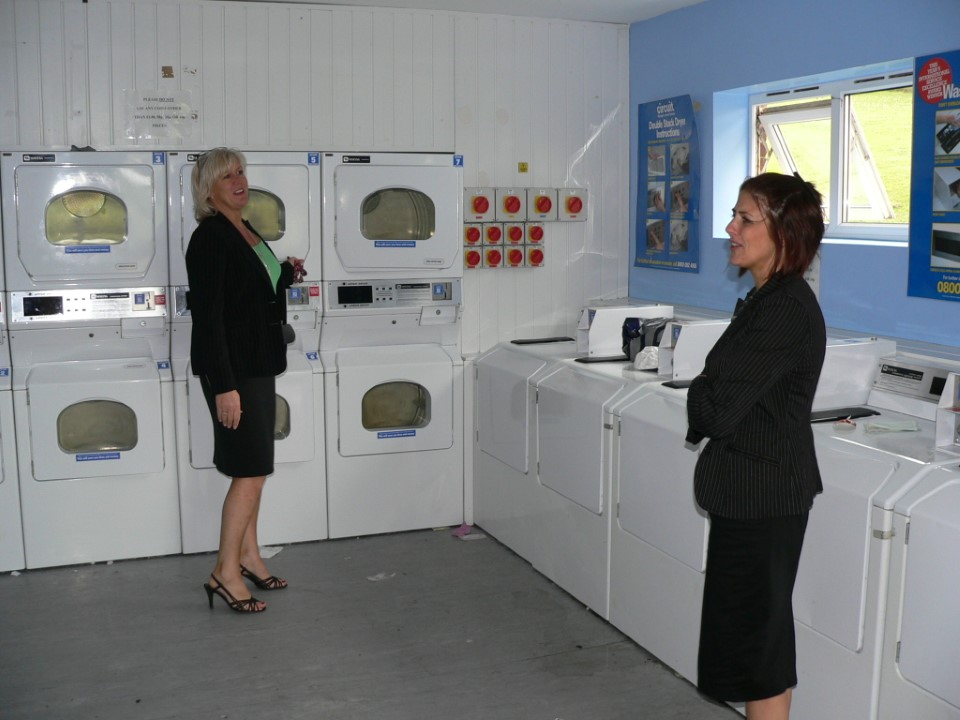 Laundry facilities are located close to the campus housing.