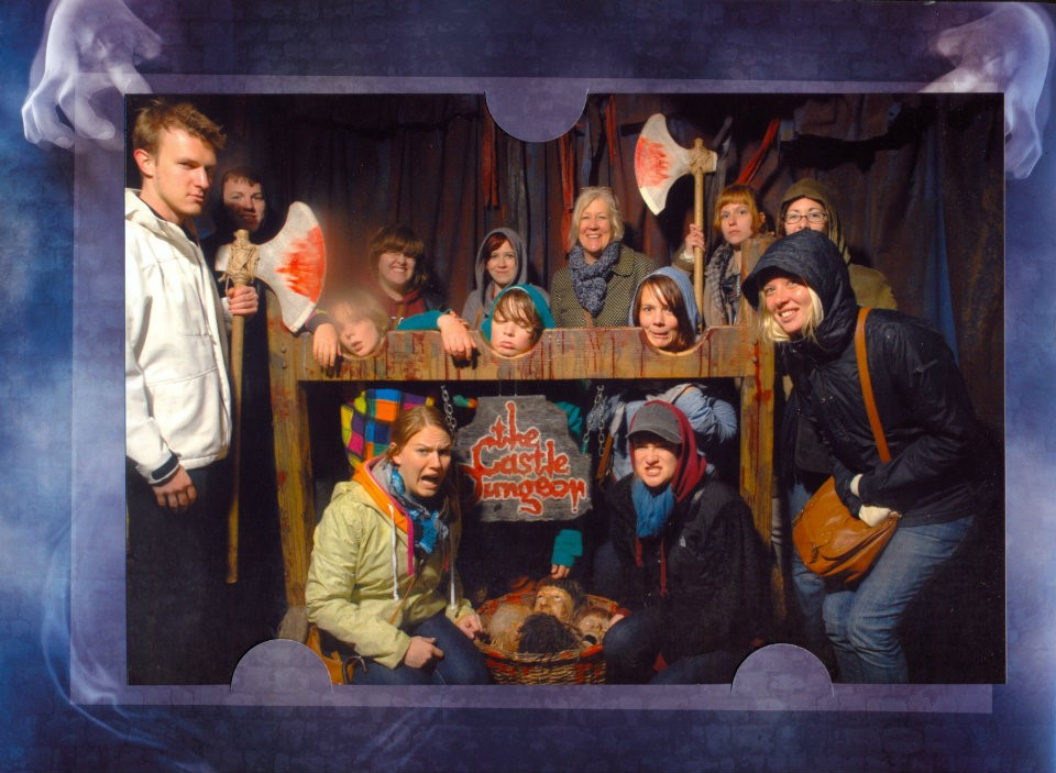 A moment to be silly during the Dungeon Tour.
