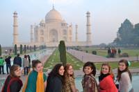 """Students in the USAC tour of northern India pose outside the Taj Mahal, """"The Crown of Palaces."""" The Palace was built in honor of Mumtaz Mahal, the third wife of Mughal Emperor Shah Jahan."""