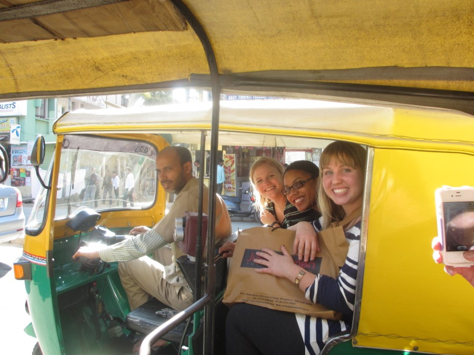 On their way to school! The trip is about 20 minutes by rickshaw. Students can also walk to and from school and explore the city at a slower pace.