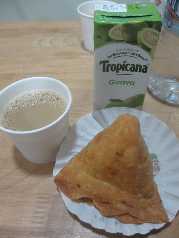 A typical and tasty Indian treat with sweet Indian coffee and guava juice… yum!