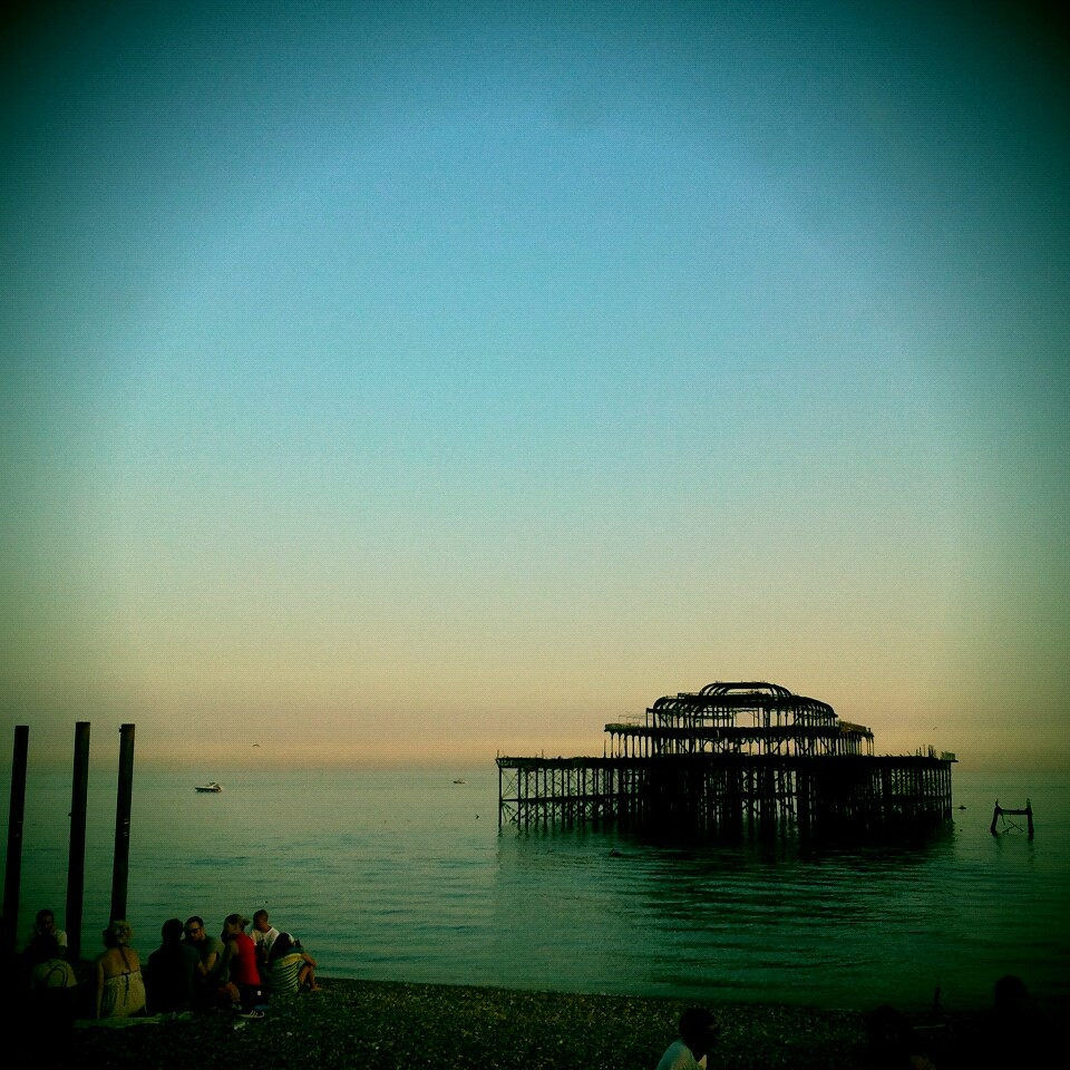 The West Pier was opened in 1866 with a length of 1,115 feet and built with cast iron threaded columns screwed into the seabed. It has been closed and deteriorating since 1975, after experiencing two fires and several large storms.