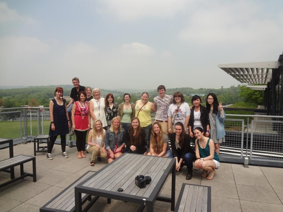 Students gather together days before they are due to depart in order to reflect on their study abroad experiences and exchange contact information.