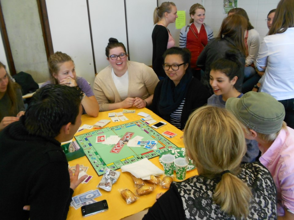 Board games help start conversations with local students