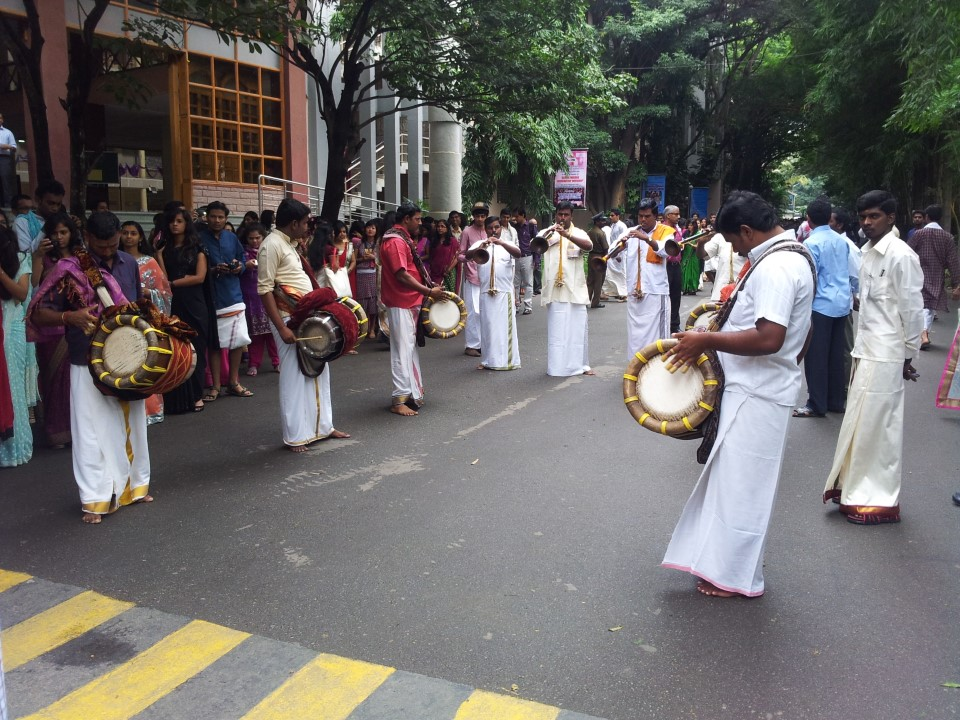 The Murthy Naiyandi group lead the Ethnicity Day procession-as they perform the traditional music of Tamil Nadu-which utilizes all kinds of instruments, from the double-reed nadaswaram to the thavil barrel drums.