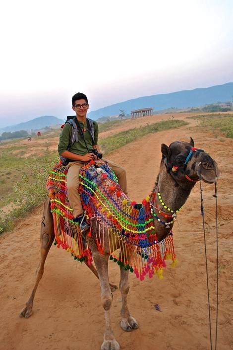 This student camped in the Rajasthan desert,which included a 2-hour camel ride to the campsite in Northwest India. In the picture, he and his camel Raja are about to embark on their journey through what's known as the Great Indian Desert.
