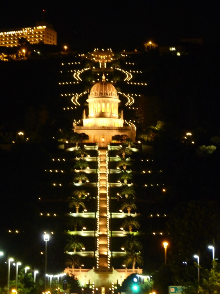 Baha'i Shrine, surrounded by lush, manicured garden, stands as a lighthouse on the hill above Haifa. The monument is the center of the small Baha'i faith, a religion that aims to reconcile the teachings of holy men across religious bounds.