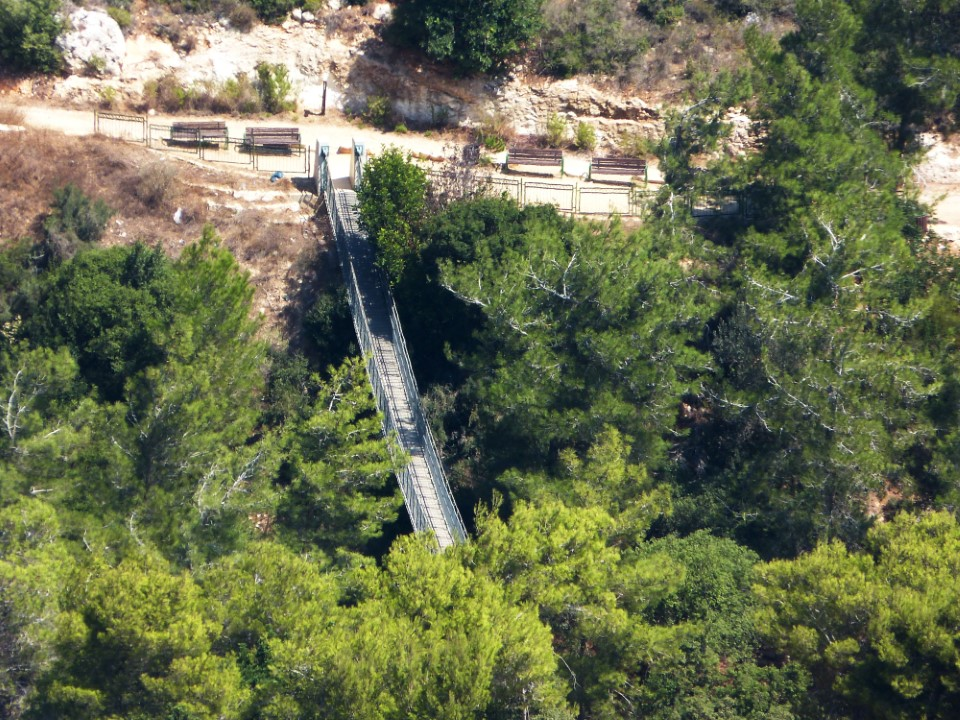 Nesher Park, located just outside of Haifa, contains two large suspended bridges where visitors can cross the lush valley below. Each bridge extends over 70 meters from one end to the other.