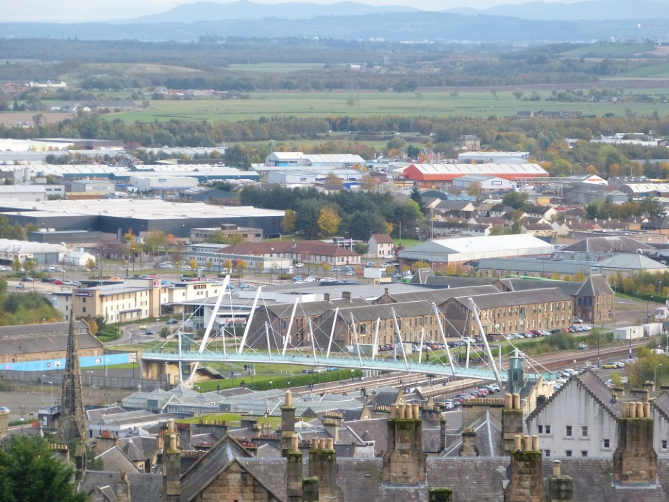 From Stirling Castle you can see much of the city. Pictured here, the Forthside bridge is one of Stirling's newest landmarks and was built to bridge the City Centre with an area of new development.