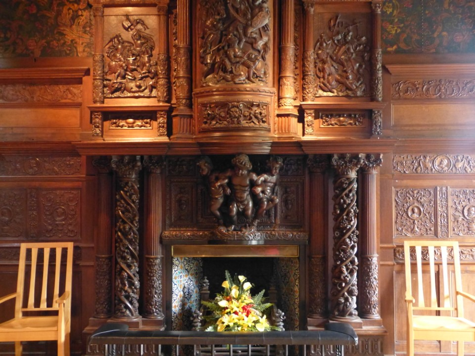 The room where this fireplace is located is used for various receptions and meetings on campus.
