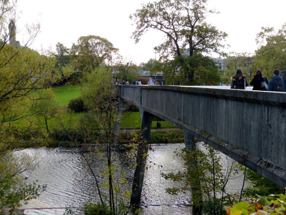 This Bridge crosses the River Forth and separates the dorms and classrooms from the student union.