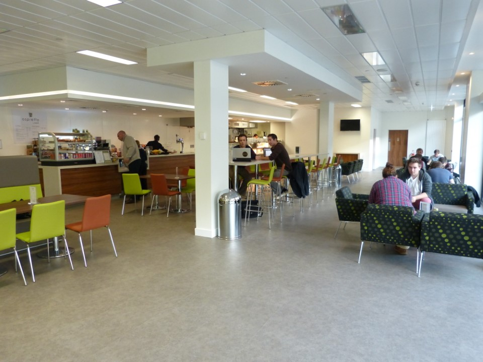 Hang out with your fellow students in the cafe inside the Willows Court residence hall.