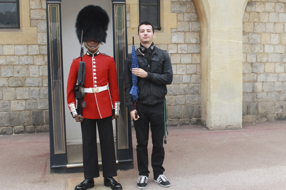 The standard bearskin hat of the British Foot Guards is 18 inches tall, weighs 1.5 pounds, and is made from the fur of the Canadian black bear.
