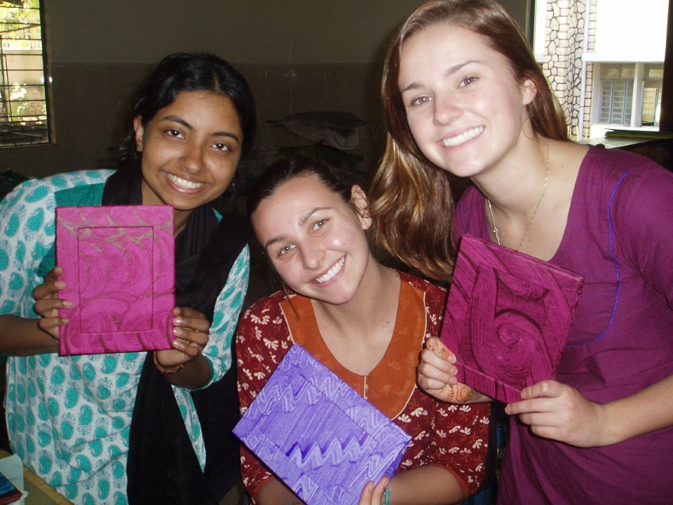 The students are excited about their finished, recycled picture frames. Similar products will be sold on campus and the proceeds will fund Christ's many charitable projects, such as the tutoring center in the slums.