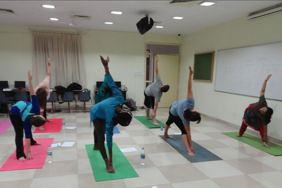 The classical techniques of Yoga are ancient, in fact, stone carvings depicting figures in yoga positions have been found in archeological sites in the Indus Valley (area that includes parts of India and Pakistan) dating back 5,000 years or more. The yoga professor at Christ University helps students understand the history of yoga, while experiencing the mental and physical benefits of practicing yoga.