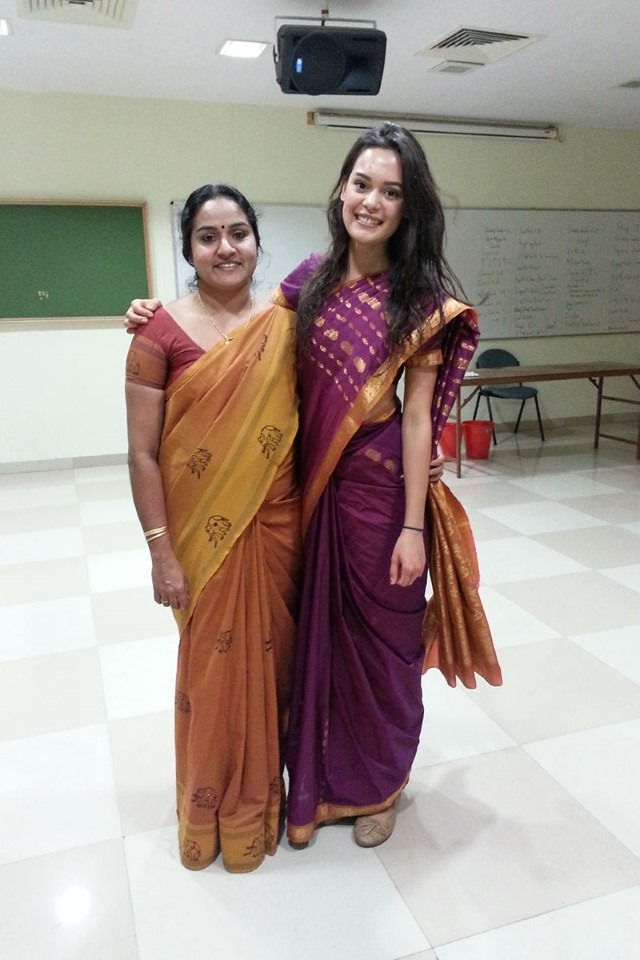 Seema (on the left) is the Program Assistant in Bengaluru. She is there to help you with anything you need! She also takes interested students to buy fabric for saris, and will help you wrap them during the Sari Wrapping Party.