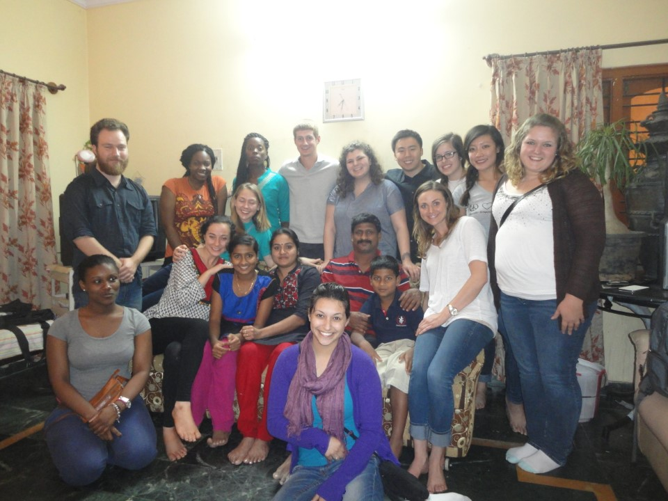 A group shot witha host family.