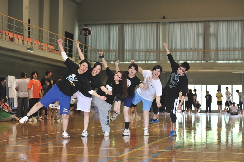 Students warm up for Sports Day.