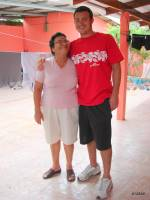 USAC student with his homestay mom.