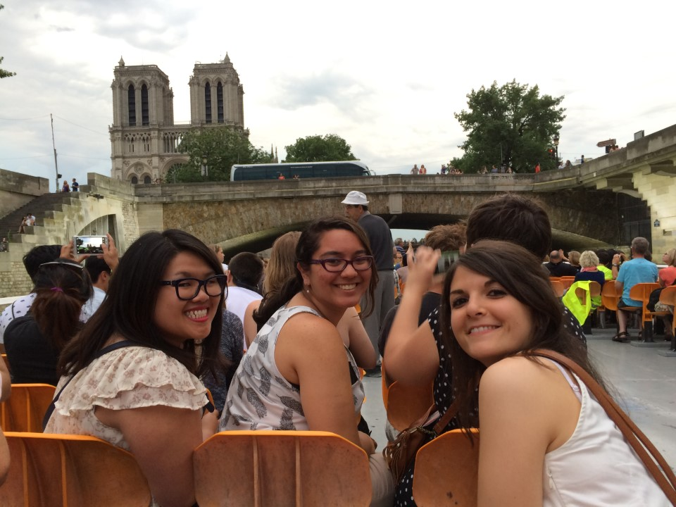 """On the """"bâteau mouche"""" on the Seine river (behind is Notre Dame)"""