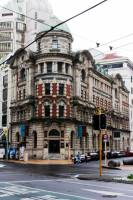 The old Public Trust Building in Lambton Quay is an example of early Victorian architecture in Wellington, built entirely from granite.
