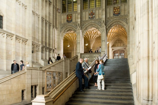The Wills Memorial Building is a centerpiece at the University of Bristol, and is used for degree ceremonies and examinations, which take place in the Great Hall.