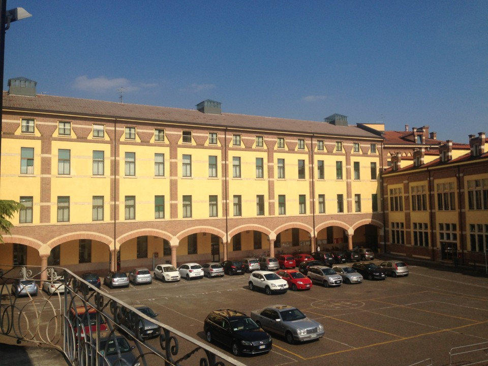 A view of one of the many courtyards on the IUSVE campus.