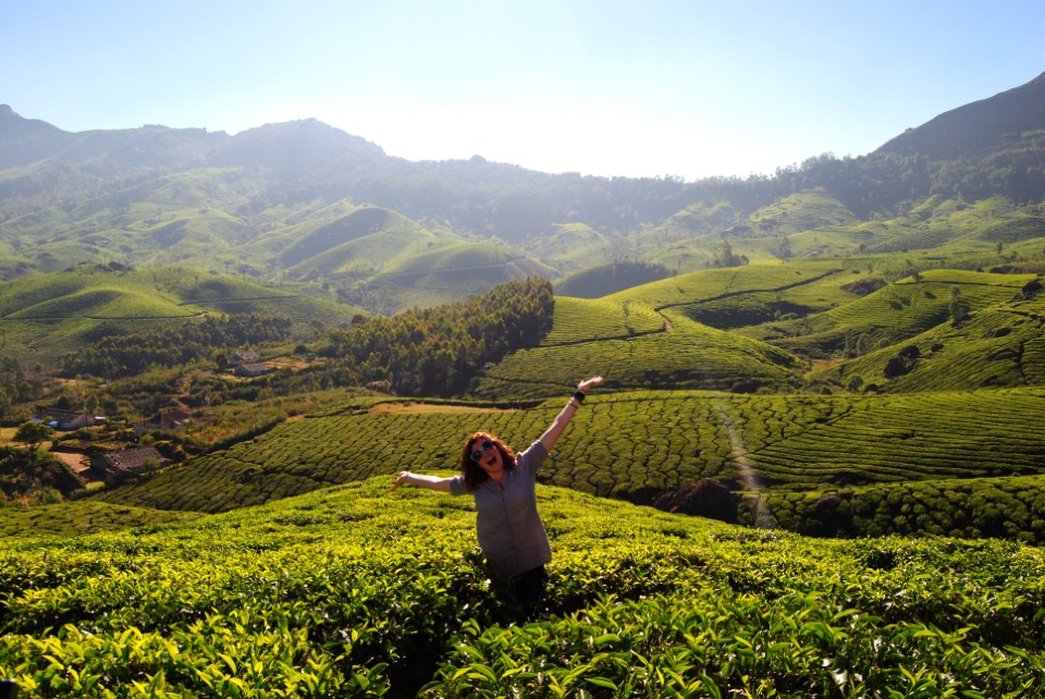 A USAC student basking in the sunshine while standing in one of India's tea fields in Kerala.