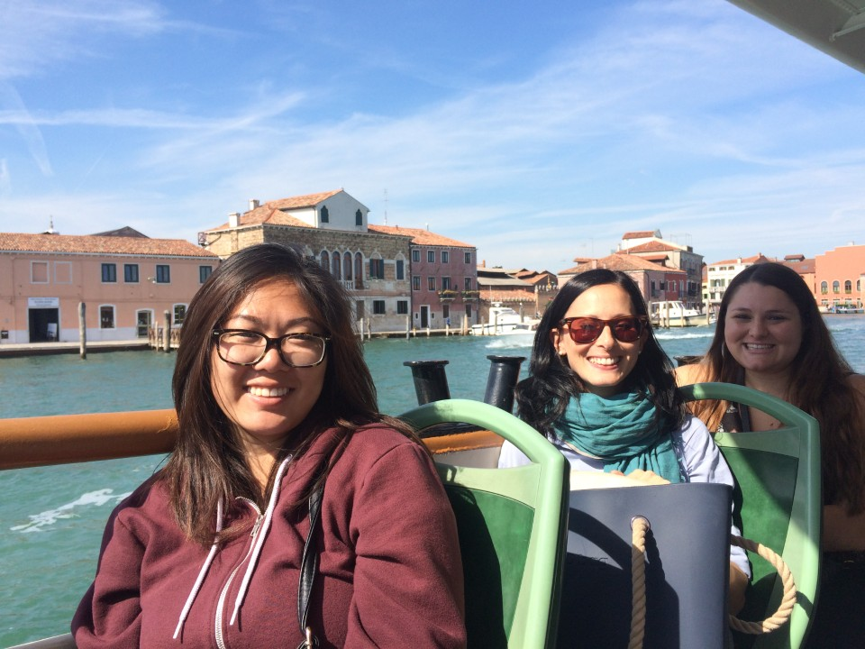 Students XiaoDi and Chelsea with staff member Anna (center) on a boat ride to Murano Island on the beautiful Venice field trip - Sept 2016