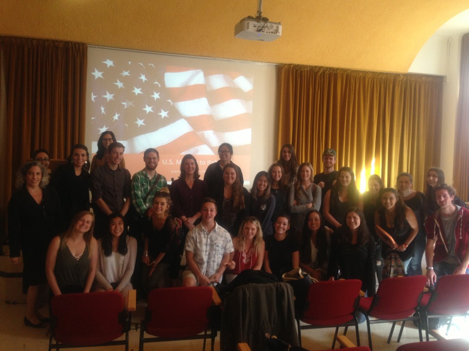 Fall 2016 USAC Verona group meeting US Milan Consulate Vice Consul - along with staff, professors and Italian university students