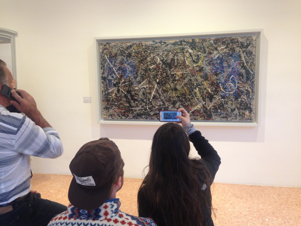 Students taking in a Jackson Pollock work of art --- what a way to study for your midterm exam! Oct 2016