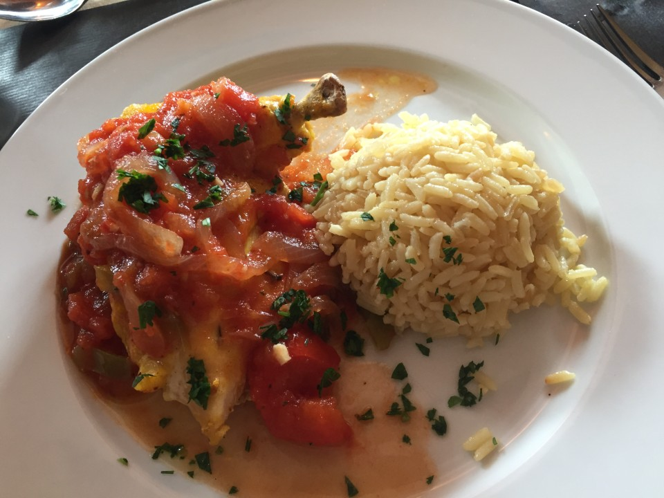 Poulet basquaise for lunch, a typical Basque dish