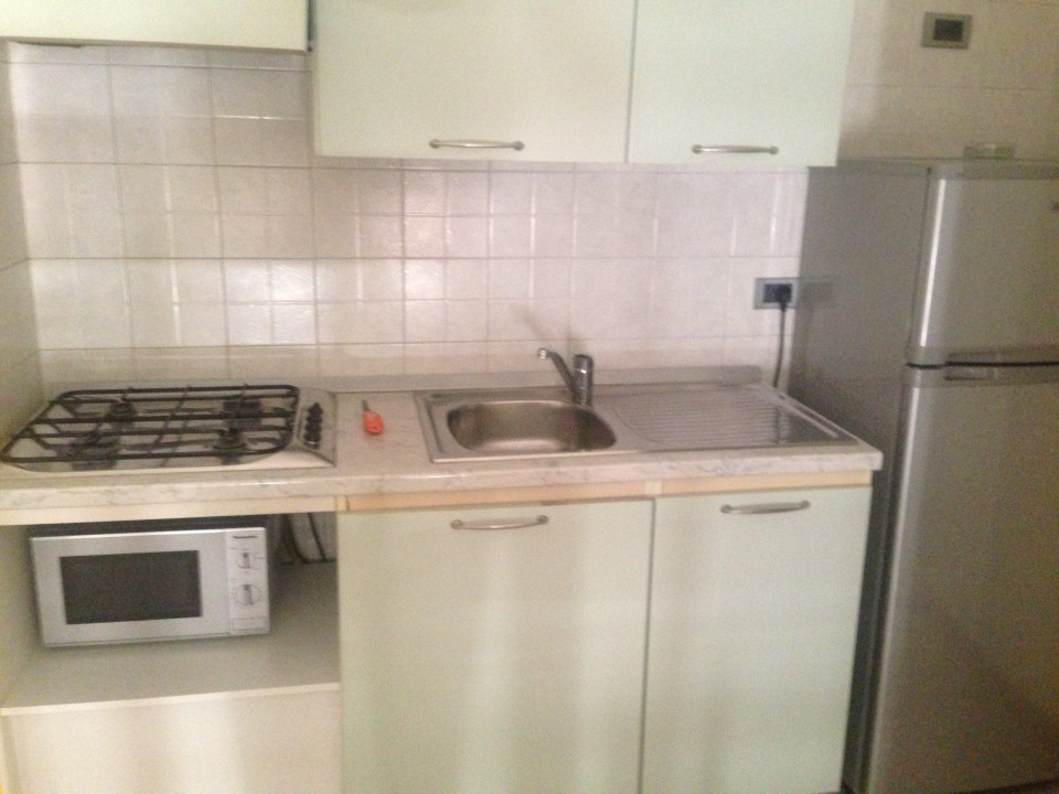 typical basic kitchen area with microwave and stove in each apartment