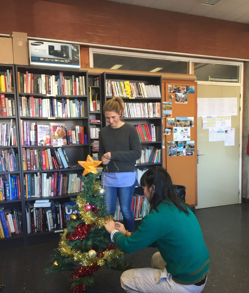 Decorating the Christmas tree in the office
