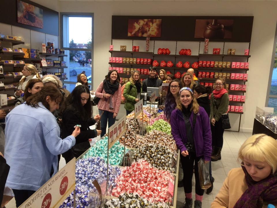We made a stop at the chocolate factory, Lindt, in Oloron-Sainte-Marie