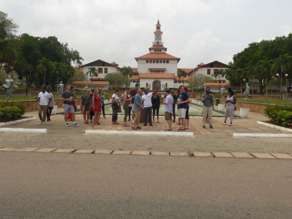 Getting a tour of the University of Ghana