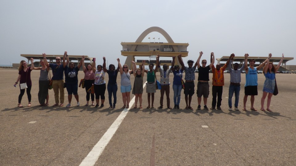 Group photo in independence square in Accra