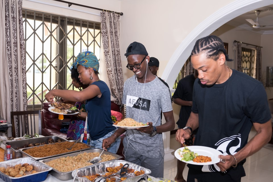 Students enjoying their prepared meals