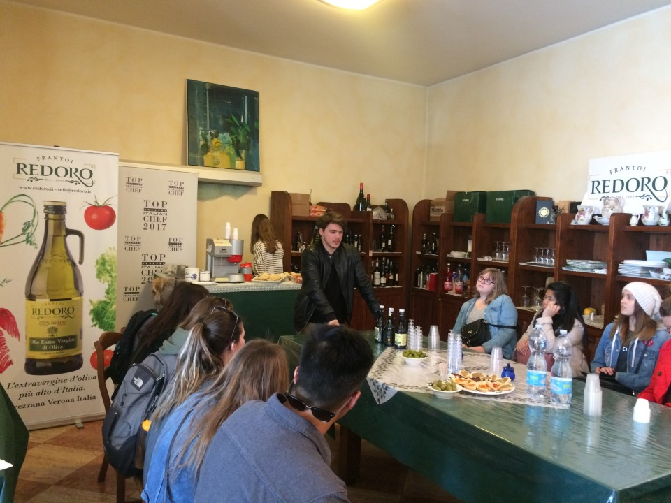 Tasting the differencies among olive oils at Redoro Olive Oil Company.