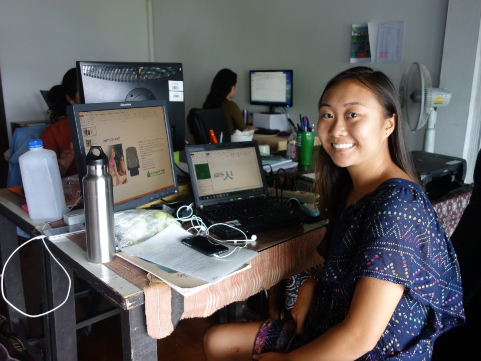 A student at her internship at WTFO Asia