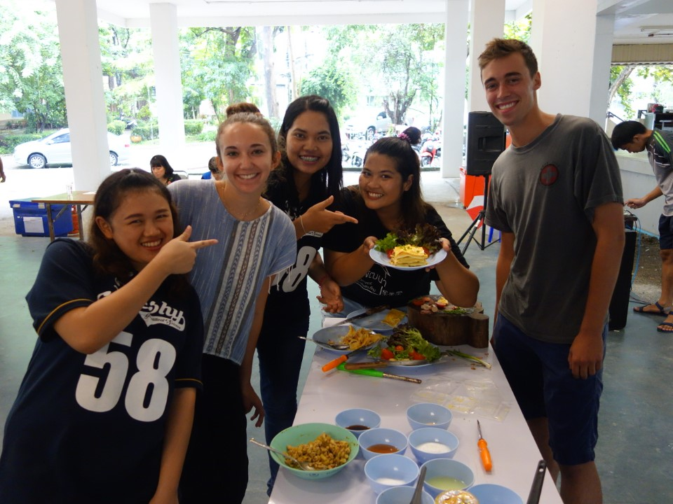 Students participate in a local cooking competition.