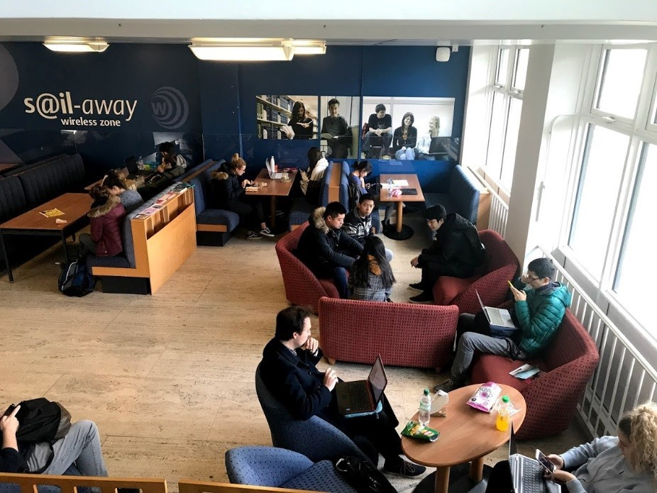 Located near the University of Reading International Office are many student areas that are great for studying and include wifi.