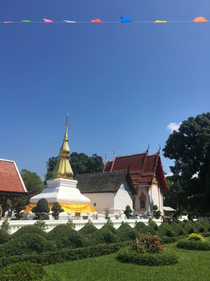Exploring the grounds of a temple in Khon Kaen, Thailand.