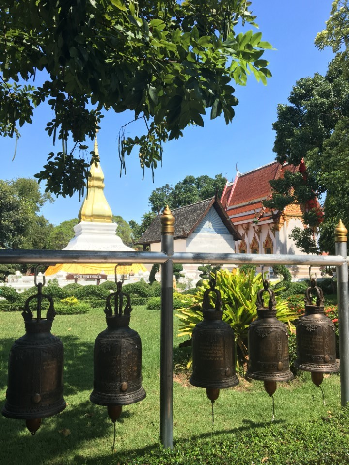 Bells on the grounds of a local temple in Khon Kaen.