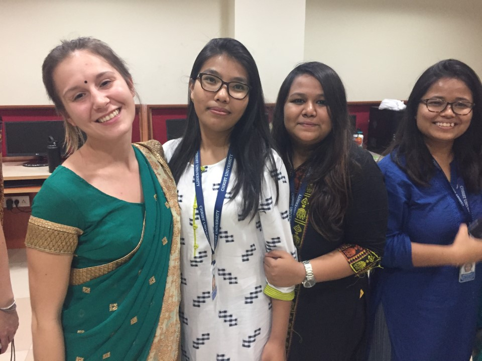 Students pose in their Saree's after learning how to properly wrap them