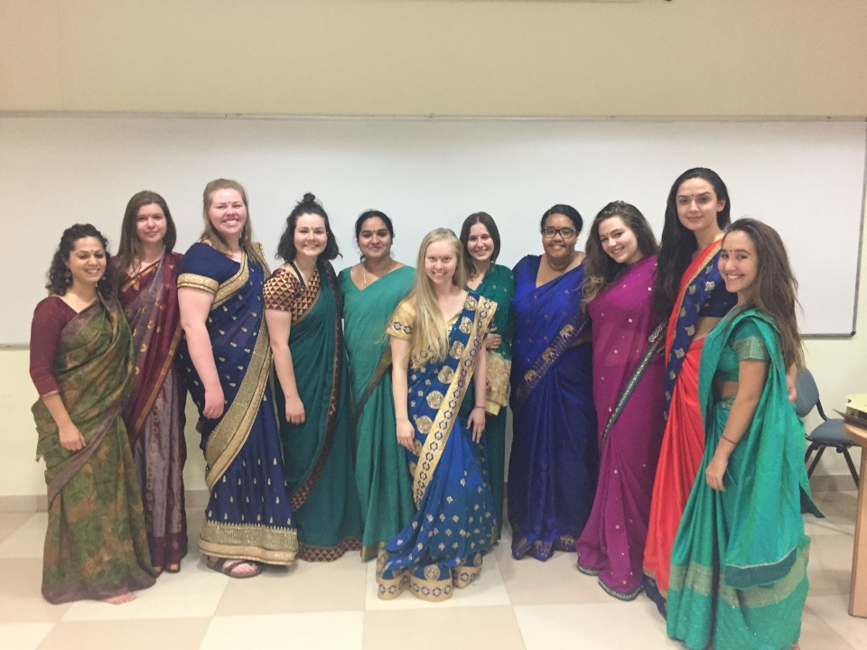 The girls of USAC will learn how to properly fit a Saree