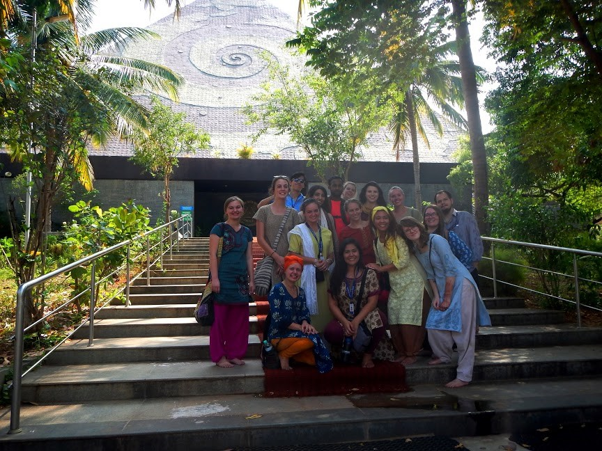 Students visit Pyramid Valley, a Buddhist meditation center, on a Buddhism and Hinduism in Contemporary Society class field trip