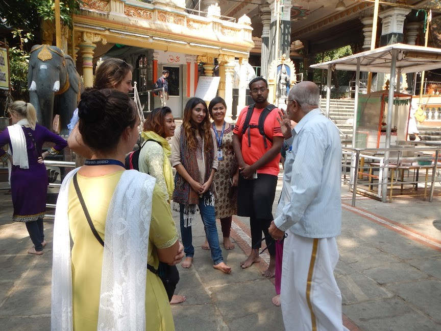 Students in the Buddhism and Hinduism in Contemporary Society course visit a Hindu temple