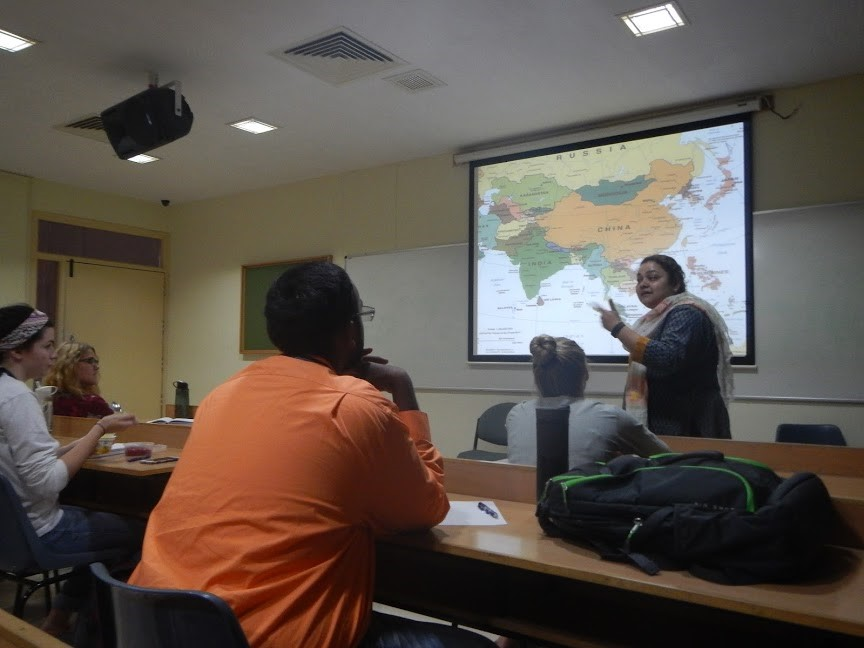 Students listen during their Contemporary Political and Economic Issues in South Asia course
