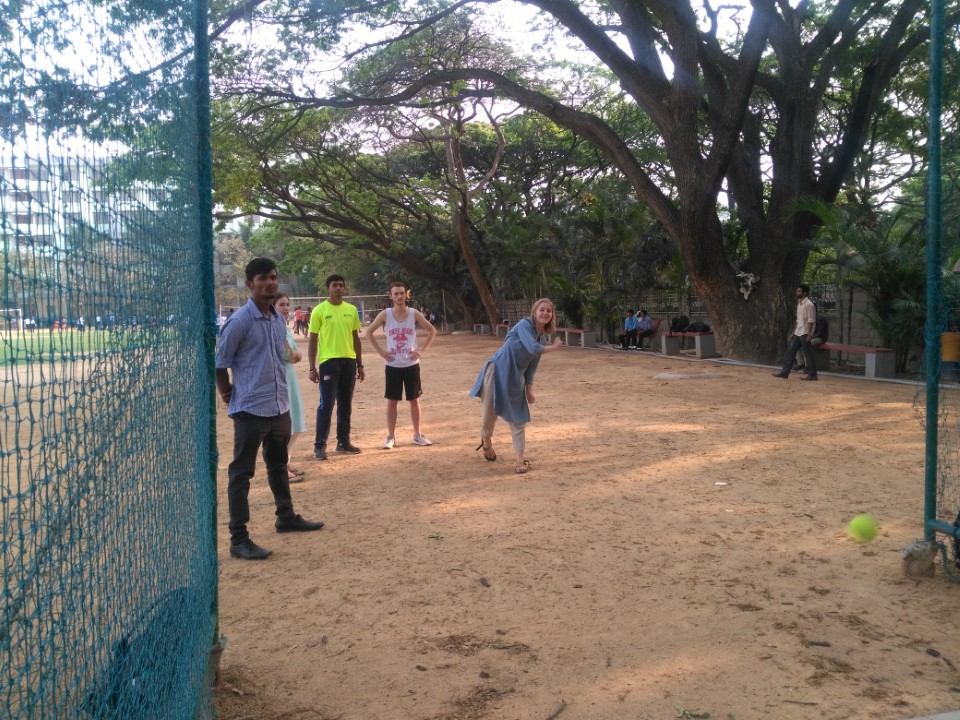 Students learn how to play cricket